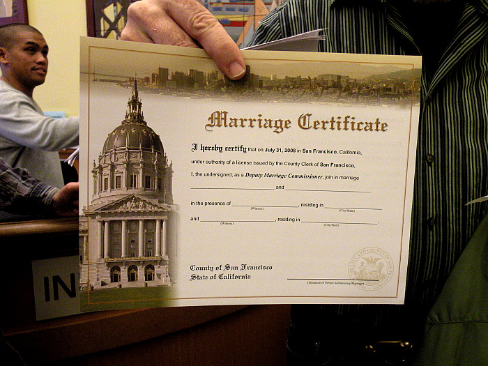 marriage certificate filled